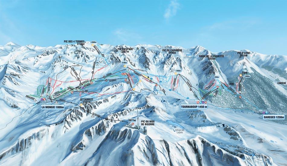 Kaart van het skigebied Tourmalet
